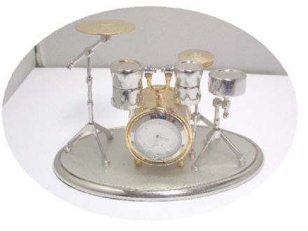 Gold and Silver Drum Kit Clock 0470